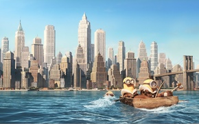 Картинка мост, город, река, лодка, мультфильм, гитара, кадр, удочка, весло, Minions, Миньоны