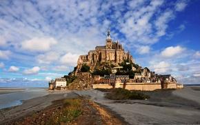 Картинка город, фото, Франция, дома, Mont Saint Michelle
