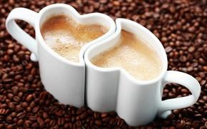 Картинка фон, widescreen, обои, настроения, сердце, кофе, зерна, кружка, чашка, wallpaper, форма, кружки, сердечко, капучино, кофейные …