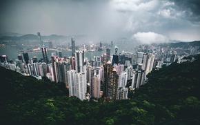 Картинка небо, облака, город, Китай, Гон-Конг
