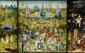 Картинка триптих, сад земных наслаждений, Иероним Босх