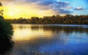 Картинка небо, листья, вода, деревья, пейзаж, закат, природа, отражение