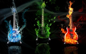Картинка вода, огонь, земля, стихия, гитара