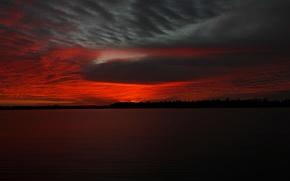 Обои облака, озеро, вечер, зарево
