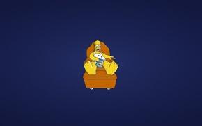 Картинка диван, Симпсоны, минимализм, пульт, лежит, гомер, синий фон, homer, The Simpsons, развалился