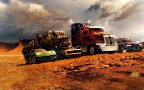 Картинка пустыня, bugatti, оптимус прайм, transformers 4, трансформеры 4, shevrolet corvette