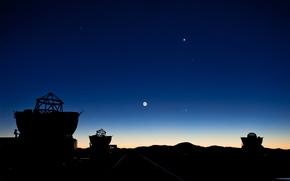 Картинка Луна, Марс, Юпитер, телескопы