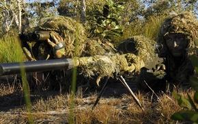 Картинка трава, деревья, растительность, солдаты, маскировка, экипировка, огневая позиция, снайпера