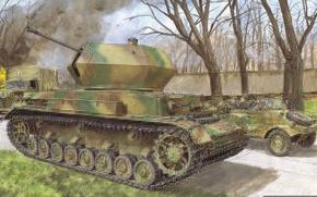 Картинка отражение, рисунок, арт, установка, налёт, Вторая мировая война, самоходная, (ЗСУ), немецкая, зенитная, Flakpanzer, Флакпанцер, (восточный …