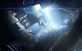 Картинка свет, темно, скафандр, астронавт, fan art, Alien: Isolation, криокамера
