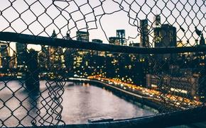 Обои автомобили, мост, Нью-Йорк, улица, Соединенные Штаты, забор, сумерки, горизонт, река