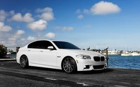 Картинка car, авто, бмв, белая, седан, f10, BMW 5 series