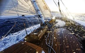 Обои море, корабль, океан, яхта.лодка