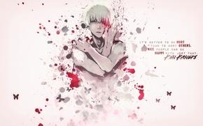 Картинка кровь, парень, белые волосы, Tokyo Ghoul, Kaneki Ken, Токийский Гуль, Канеки кен