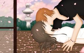Картинка романтика, поцелуй, арт, пара, Fruits Basket