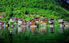 Обои Гальштат, склон, Австрия, дома, Гальштатское озеро, озеро, вода, Austria, Hallstatt, Lake Hallstatt, здания