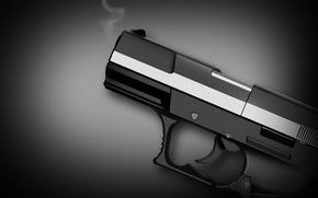 Картинка пистолет, оружие, черно-белая