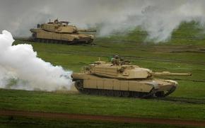 Обои дым, трава, Abrams, танк