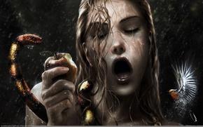 Обои Christian Suhr, калибри, змея, яблоко, мокрые волосы, губы, рот, капли