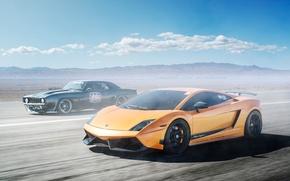 Картинка Lamborghini, Chevrolet, Camaro, Superleggera, Gallardo, black, muscle car, orange