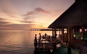 Картинка закат, океан, вечер, ресторан, Мальдивы, курорт