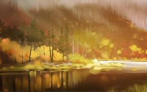 Картинка осень, лес, деревья, река, арт