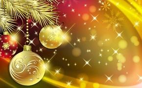Картинка шарики, праздник, игрушки, ветка