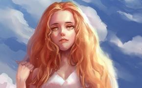 Картинка небо, взгляд, девушка, облака, волосы, рука, арт, рыжие, живопись