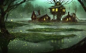 Картинка лес, вода, дом, фантазия, болото, сказка, вечер, арт