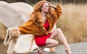 Обои glam factor, в красном, платье, ножки