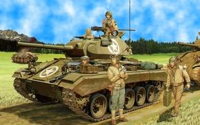 Картинка war, art, painting, tank, ww2, M24 chaffee
