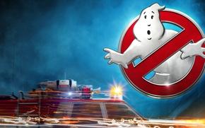 Обои логотип, фантастика, привидение, авто, машина, Ghostbusters, искры, Охотники за привидениями, туман, мигалка, скорость, свет, постер, ...