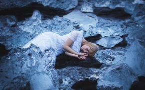 Картинка холод, девушка, сон, лёд, Amy Haslehurst, sleeper