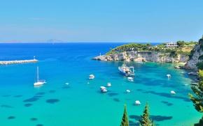 Картинка побережье, бухта, лодки, Средиземное море