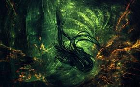 Обои чёрный, зелёный, абстракцыя