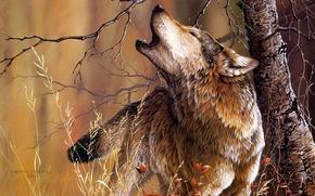 Картинка дерево, волк, арт, Christoper B. Walden