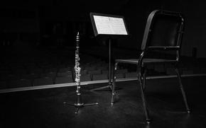 Картинка ноты, стул, кларнет
