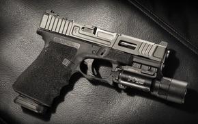 Картинка Mark 1, фон, Glock 17, фонарик, пистолет