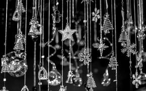 Обои темный фон, Новый Год, елки, подвески, стеклянные, снежинки, ангелы, Рождество, звезды