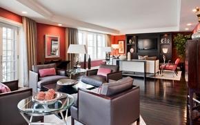 Картинка комната, диван, окна, телевизор, кресла, столик, гостиная, шторы.