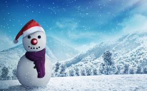 Обои лес, пейзаж, Новый год, шарф, 3D, поляна, шапка, снежинки, деревья, зима, снег, горы, рендеринг, снеговик