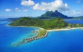Картинка море, деревья, тропики, побережье, остров, домики, the trees, the sea coast, the houses, tropical island