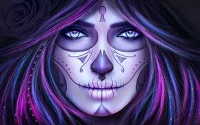Картинка глаза, взгляд, девушка, лицо, смерть, волосы, череп, макияж, тату, арт