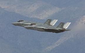 Обои полет, истребители, бомбардировщики, Lightning II, F-35B