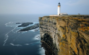 Картинка море, камни, скалы, берег, маяк, горизонт