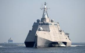 Картинка gun, soldiers, sea, ocean, military, water, bow, port, sugoi, subarashii, cargo, navy, USS Independence, vessel, …