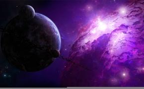 Обои планеты, астероиды, нарисованная, туманность, шикарно, звезды, пояс