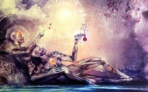 Картинка небо, вода, женщина, символы, мужчина, двое, art, зодиак, анатомия, эзотерика, cameron gray, созерцание, чакры