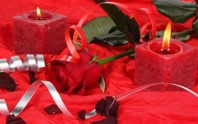 Картинка цветы, сердце, свеча, red rose, roses, romance, candles, роуз