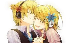 Обои улыбка, vocaloid, двое, kagamine rin, вокалоид, kagamine len
